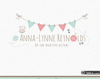 Premade Sewing Logo, Crochet Logo, Wool Logo, Yarn Logo, Knitting logo, Bunting logo, Needle & Thread, Button Logo, Crafty Logo, Embroidery