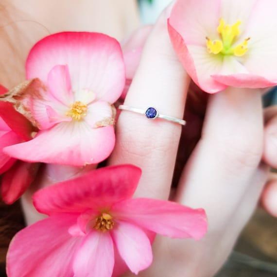 Minimalist Blue Sapphire Ring, September Birthstone Jewelry, Engagement Ring, Something Blue, Silver Blue Ring, Genuine Gemstone, Dainty