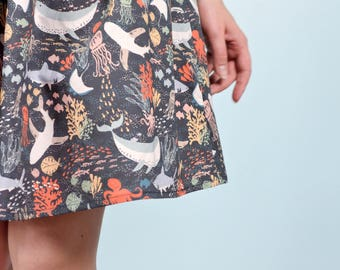 Navy Ocean Life Print Gathered Skirt / The Life Aquatic Skirt