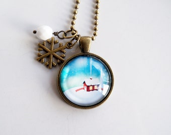 Winter Scene Necklace - Christmas Jewelry - Winter Cabin Holiday Pendant - Holiday Gift - Christmas Necklace - Winter Scene Snow Chalet
