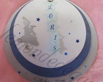Share christening or birth 3 round blue Pixie boy