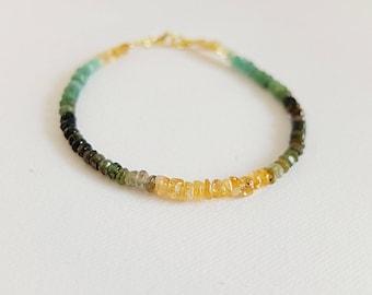 Citrine, garnet,Tourmaline,shaded Multi Gemstone Bracelet Mixed Semi Precious Gemstone Bracelet tourmaline Jewelry,Multicolor  gemstone gold