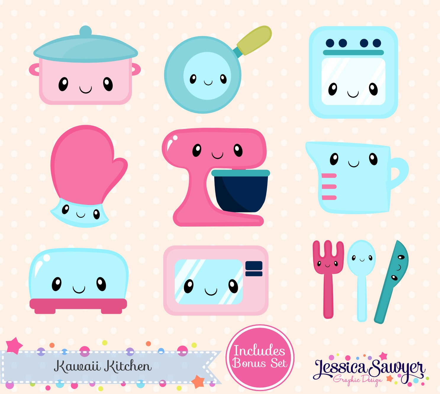 Instant Download Kawaii Kitchen Clipart And Vectors For