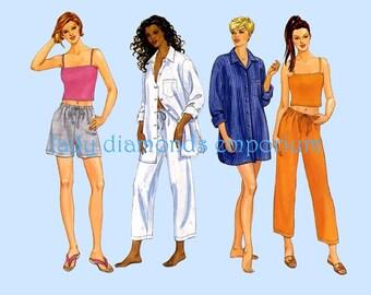 Butterick 6599 Womens Shorts Pants Camisole Top Boyfriend Shirt Nightshirt Pajamas size 12 14 16 Bust 34-38 Casual Wear Sew Pattern Uncut FF