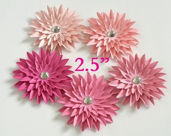 3D Pink Chrysanthemum  Paper flowers/ wedding and party flowers / 2.5 inch pink paper flowers/ set of 10 flowers