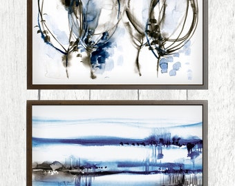 Distatnt Fields,  set of 2 prints, blue watercolor painting,  abstract blue art, modern painting, watercolor indigo artwork