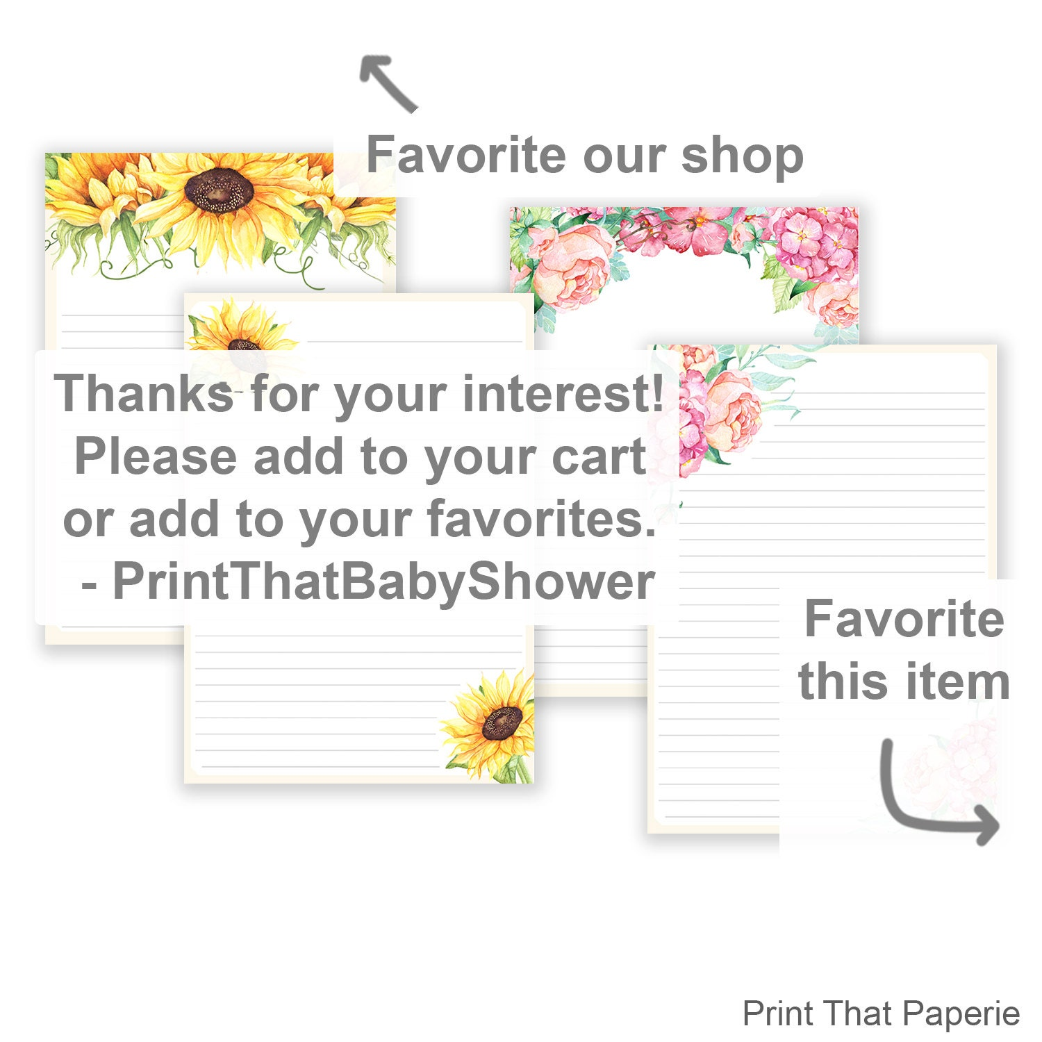 Floral Printable Writing Paper Stationary Paper Flower Letter