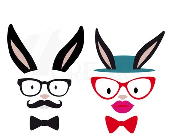 Hipster Easter Bunnies, Hipster bunny Silhouette pack. Eps, png, jpg, pdf, svg, vector illustrator & corel files included, instant download
