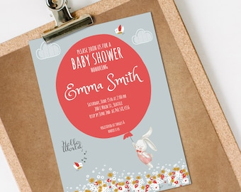 Bunny Baby Shower Invitation, Bunny Baby Shower, Balloon Baby Shower Invitation, INSTANT DOWNLOAD you personalize at home