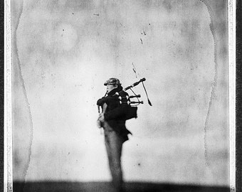 Farewell, Bagpipe, Musician, Fine Art Photography, Black And White, Home, Limited Edition, Collectible, Polaroid, Type 55, Large Print