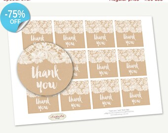 "75% OFF SALE Printable Favor Tags ""Thank you"" Lace, Printable Thank You Tag, Cupcake Toppers, Printable Supplies, Stickers, INSTANT download"
