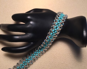 Flat Spiral Beaded Bracelet in turquoise and silver