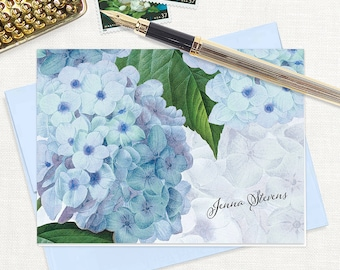 personalized stationery set - BLUE HYDRANGEA - set of 8 folded note cards - stationary - flower - botanical - floral - blue envelopes