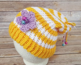 Yellow Striped Fairy Hat, Fairy Hat, Knitted Fairy Hat, Knit Fairy Hat, Fairy Slouchy, Fairy Lover Hat, Cosplay Fairy Hat, Elf Hat