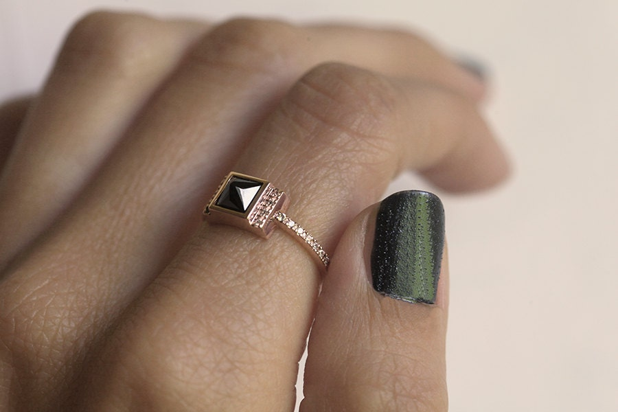 Rose Gold Diamond Engagement Ring Rose Gold Black Diamond