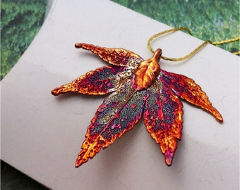 Real Leaf Jewelry,Japanese Maple Leaf Necklace Pendant in Iridescent Copper, Natures Leaves