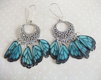 Earrings creole print in the wings of butterfly jewelry spirit Native American version 3