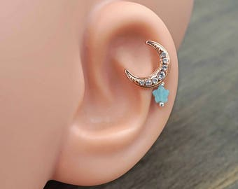 Rose Gold Moon and Star Stud Cartilage Earring Piercing 16g