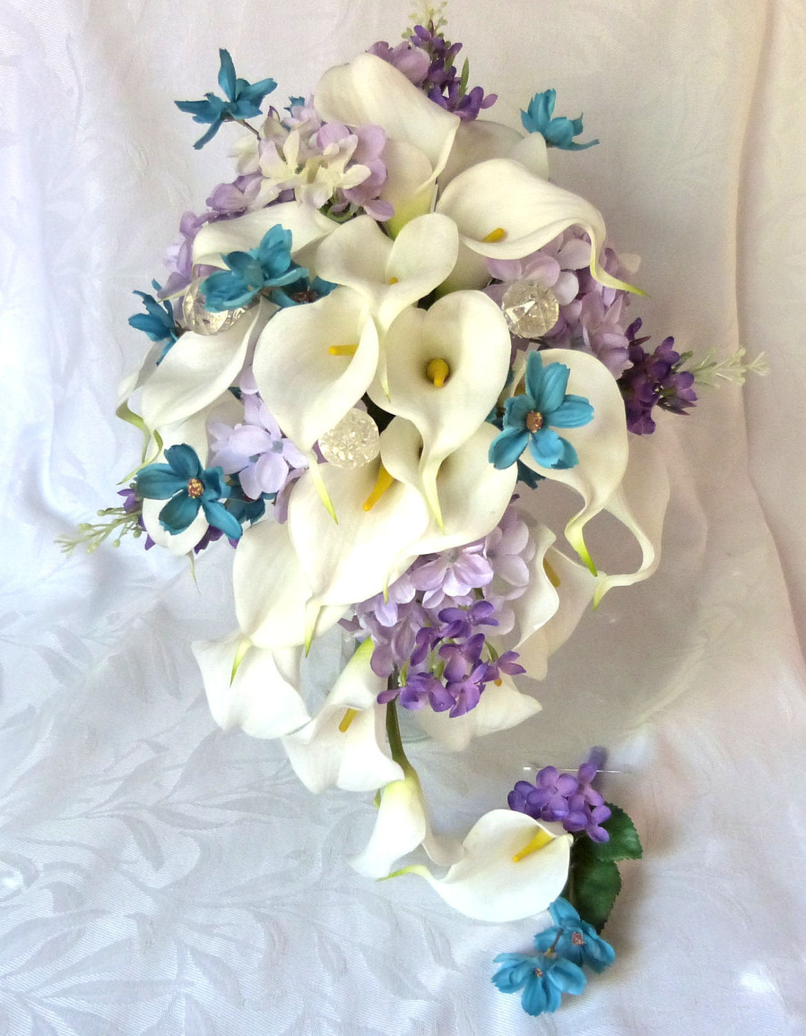 Calla lily wedding bouquet calla lily turquoise and lilac