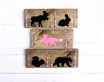 SALE - Baby Shower Gift - Woodland Animal Decor - Rustic Nursery Art - Pink Nursery Decor - Rustic Nursery Decor - Woodland Nursery Decor