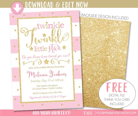 Twinkle Twinkle Little Star Baby Shower Invitation, Twinkle Twinkle Little Star Invitation, Pink and Gold Printable Invite, Thank You Card
