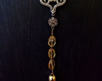 Long necklace vintage silver and gold-plated, Citrine and black glass