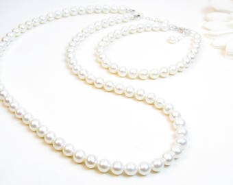 6.5mm Real Pearl Necklace & Bracelet Set - Classic White Freshwater Pearl Necklace Bracelet - Single Strand Matching Pearl Necklace Bracelet