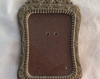Vintage ornate brass small picture frame