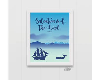 Salvation is of the Lord. Jonah 2:9 Jonah and the Whale Print Instant Download