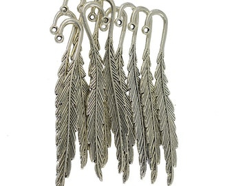10 Pcs Tibetan Silver 3D  Feather Beading Classic Simple Bookmarks With Loop For Jewelry DIY Making