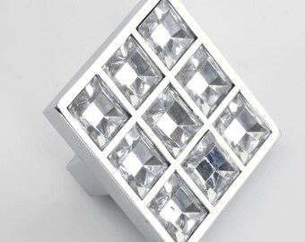 Crystal Knob Glass Knobs Dresser Knob Clear Square Drawer Knobs Pulls Handles Cabinet Furniture Pull Handle Hardware Silver Rhinestone Bling