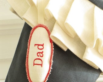 Christmas Stocking Personalized Embroidered Tag Ornament Oval Name Label Gift Wedding Favor