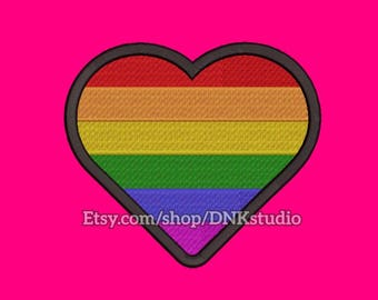 Gay Pride Rainbow Heart Embroidery Design - 6 Sizes - INSTANT DOWNLOAD