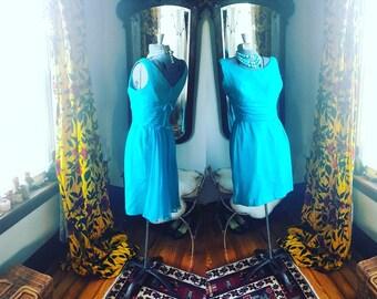 50s 1950s Vintage Blue Aqua Wiggle Dress, Chiffon Fishtail Angel Wings Dress, 60s 1960s Formal, Size  Small Dress, Bond Girl Pinup Dress