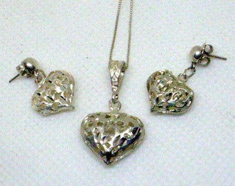 Vintage Sterling Heart Necklace And Earring Set = Sweetheart Filigree Silver Necklace - Sterling Chain - Dangle Heart Earrings - Near Mint