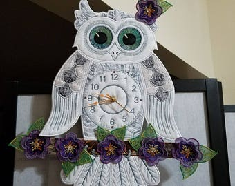 Machine Embroidered Owl Clock