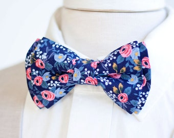 Bow Tie, Mens Bow Tie, Bowtie, Bowties, Bow Ties, Bowties, Groomsmen Bow Ties, Groomsmen Bow Ties, Weddings, Rifle Paper Co - Rosa In Navy
