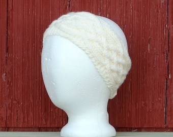 Winter white ear warmer with Celtic knot cables. knitted headband Saxon braid knit ear warmer cabled earwarmer made in usa /made to order