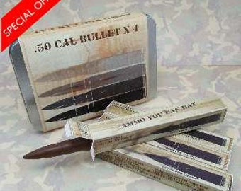 Personalised Chocolate Bullets 0.50 Cal Four pack in Tin.
