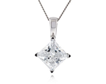 """925 Sterling Silver Square Shape Princess Diamond Cut Crystal White CZ Pendant with 18"""" Diamond Cut Curb Chain Necklace Rhodium Plated"""