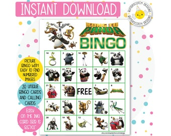 Kung Fu Panda Printable Bingo Cards (30 Different Cards) - Instant Download