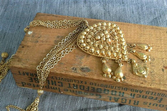 Large Early Kenneth Jay Lane Etruscan Gold Pendant Necklace 1960s