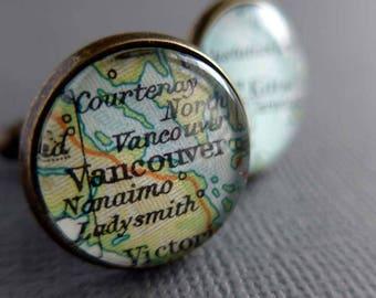 Custom Cufflinks, Personalized Map Cuff Links, For Him
