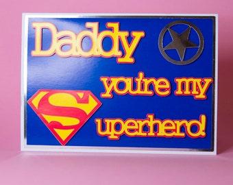 Daddy birthday card etsy handmade superhero daddy birthdayfathers day card superhero birthday card daddy birthday card bookmarktalkfo Images