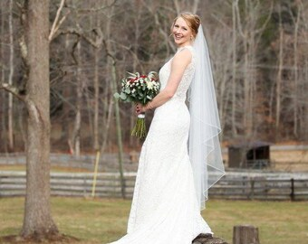 Wedding Veil Cascade Fingertip or Waltz Rolled Edge, Bridal Veil C90ROE