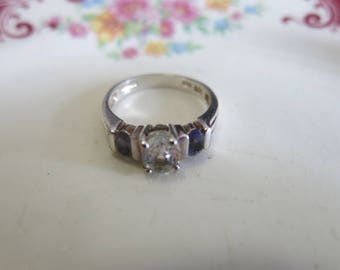 vintage white topaz and iolite ring Art Deco wedding ring sterling silver ring 925 size 6 vintage jewelry