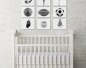 FLASH SALE til MIDNIGHT White Background Sports Collection Black and White or Color Set of Nine Canvas Prints  Ready to Hang, Sports Nursery
