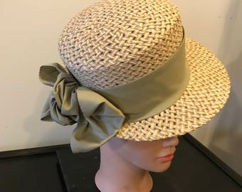 Vintage David Brook Ladies Straw Hat with Wide Olive Green Ribbon Band
