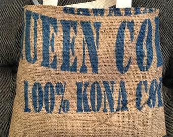 Hawaiian Queen Coffee Burlap Tote/ Beach Bag/ Market Tote