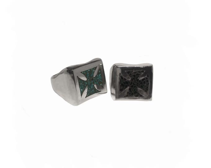 Iron Cross Inlay Ring
